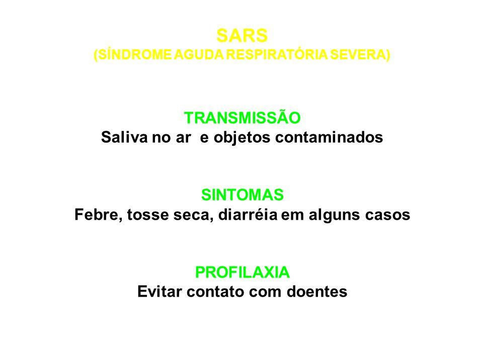SARS TRANSMISSÃO Saliva no ar e objetos contaminados SINTOMAS