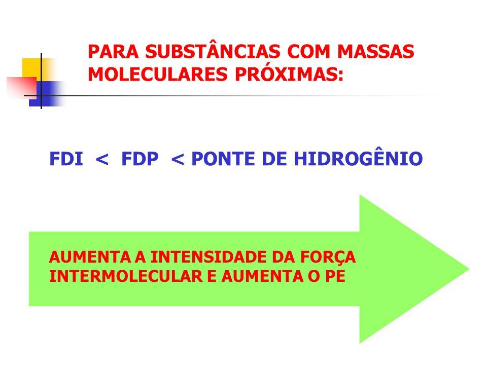 PARA SUBSTÂNCIAS COM MASSAS MOLECULARES PRÓXIMAS: