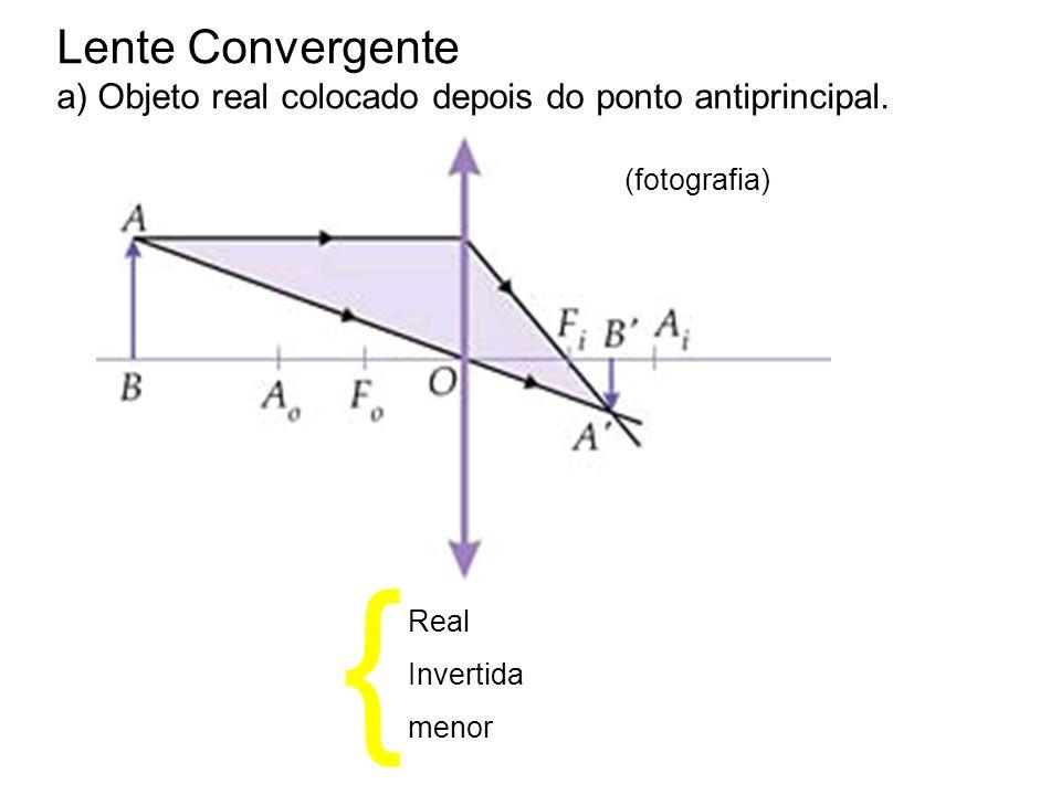 Lente Convergentea) Objeto real colocado depois do ponto antiprincipal. (fotografia) { Real. Invertida.