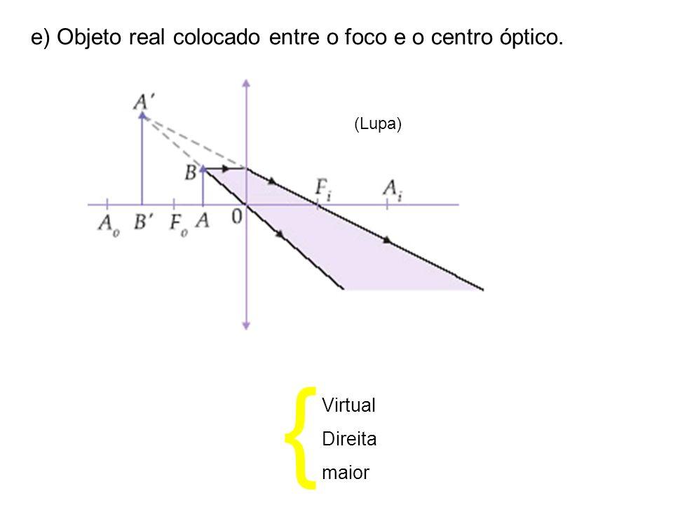 { e) Objeto real colocado entre o foco e o centro óptico. Virtual