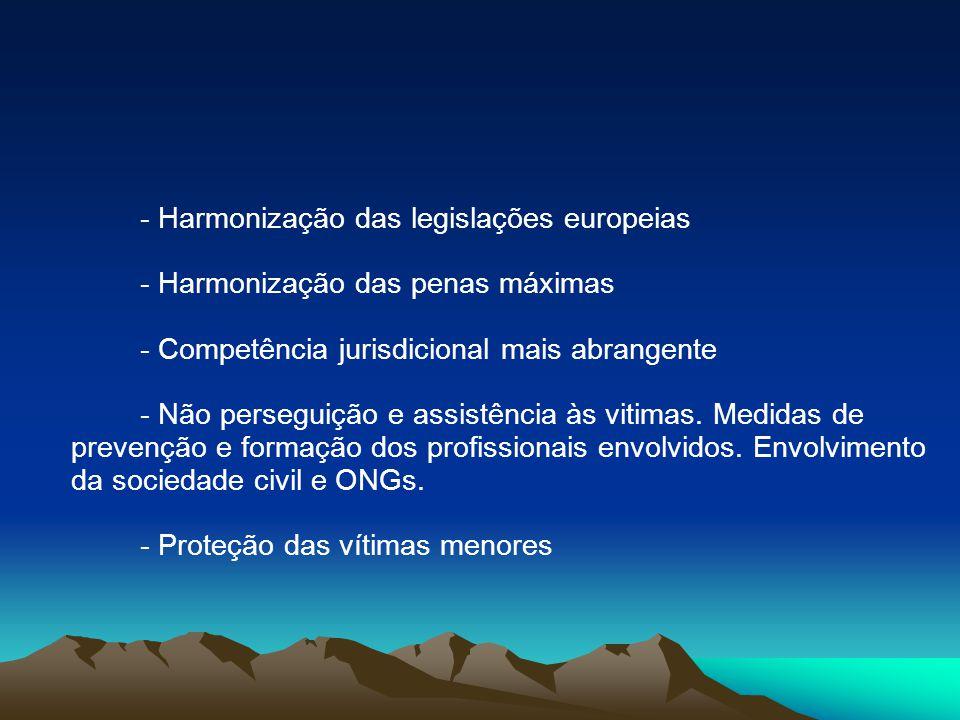 - Harmonização das legislações europeias