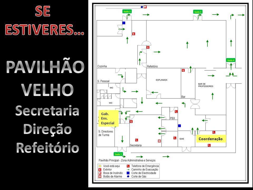 PAVILHÃO VELHO SE ESTIVERES… Secretaria Direção Refeitório Coordenação