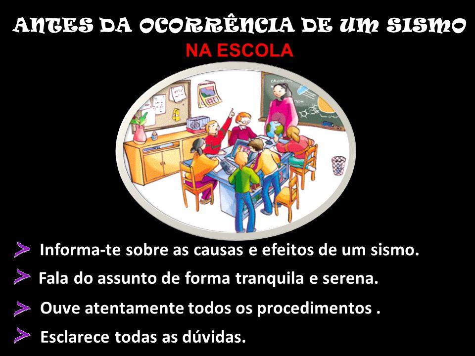 ANTES DA OCORRÊNCIA DE UM SISMO
