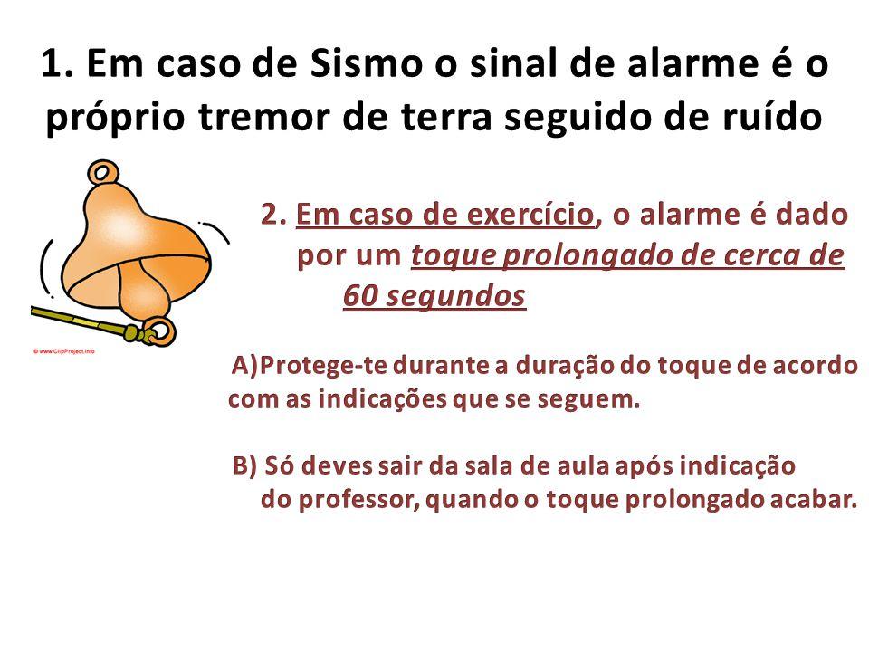 1. Em caso de Sismo o sinal de alarme é o próprio tremor de terra seguido de ruído