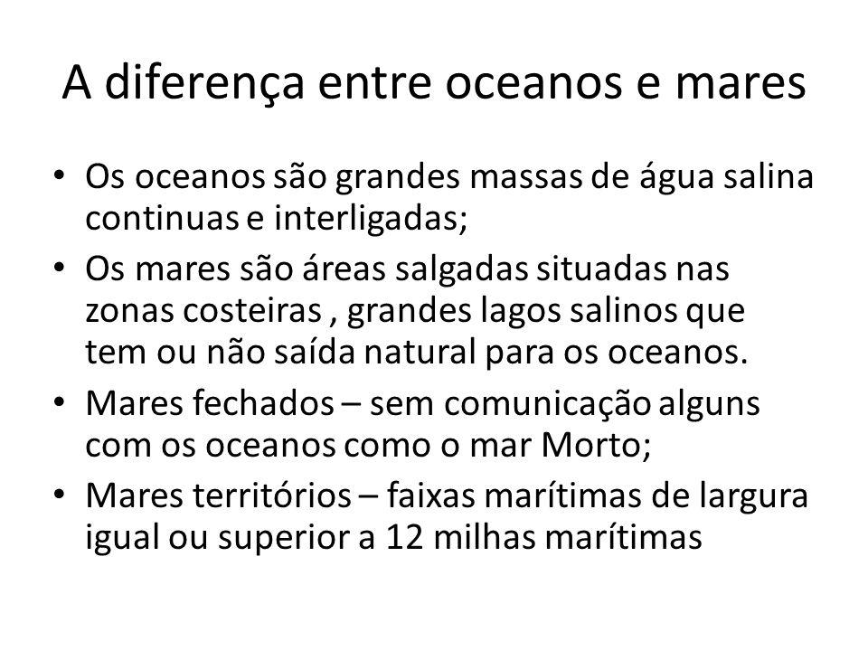 A diferença entre oceanos e mares