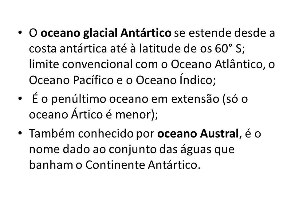 O oceano glacial Antártico se estende desde a costa antártica até à latitude de os 60° S; limite convencional com o Oceano Atlântico, o Oceano Pacífico e o Oceano Índico;