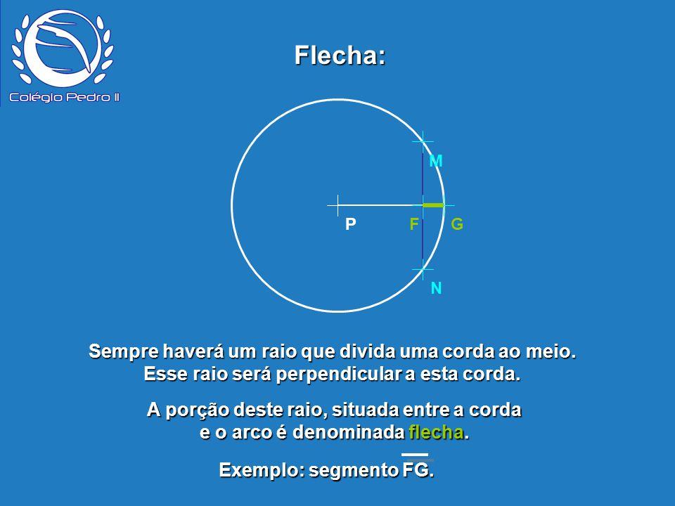 Flecha: P. N. M. F. G. Sempre haverá um raio que divida uma corda ao meio. Esse raio será perpendicular a esta corda.
