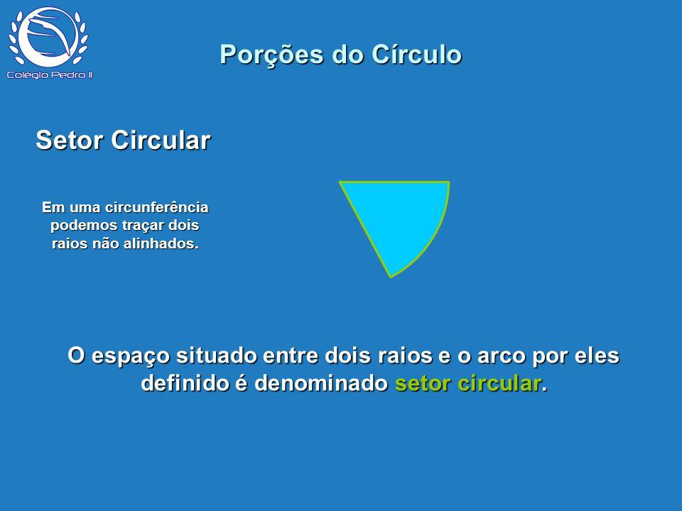 Em uma circunferência podemos traçar dois raios não alinhados.