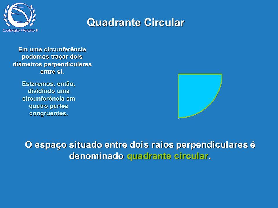 Quadrante Circular P. Em uma circunferência podemos traçar dois diâmetros perpendiculares entre si.