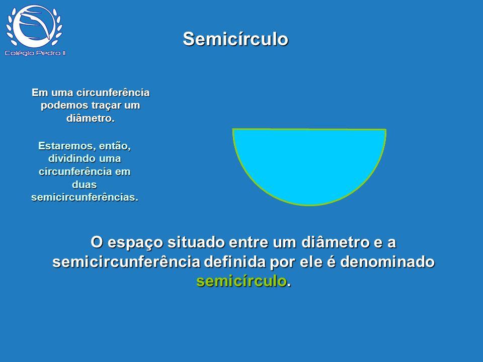Em uma circunferência podemos traçar um diâmetro.