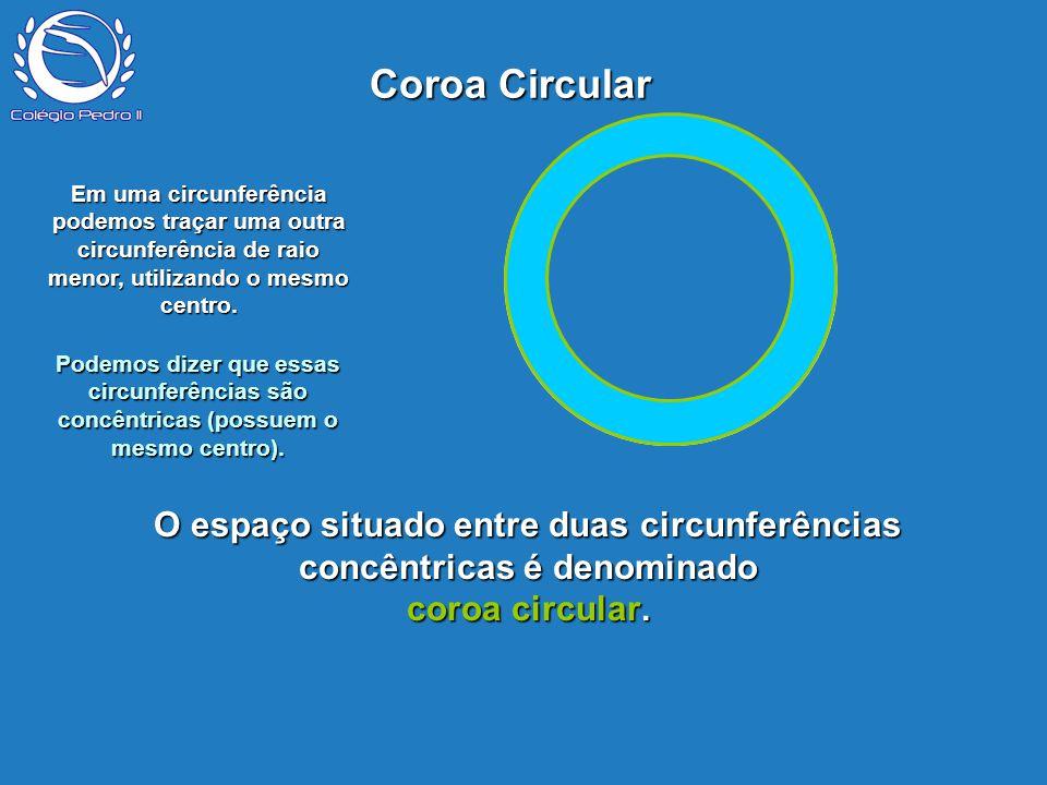 Coroa Circular P. Em uma circunferência podemos traçar uma outra circunferência de raio menor, utilizando o mesmo centro.