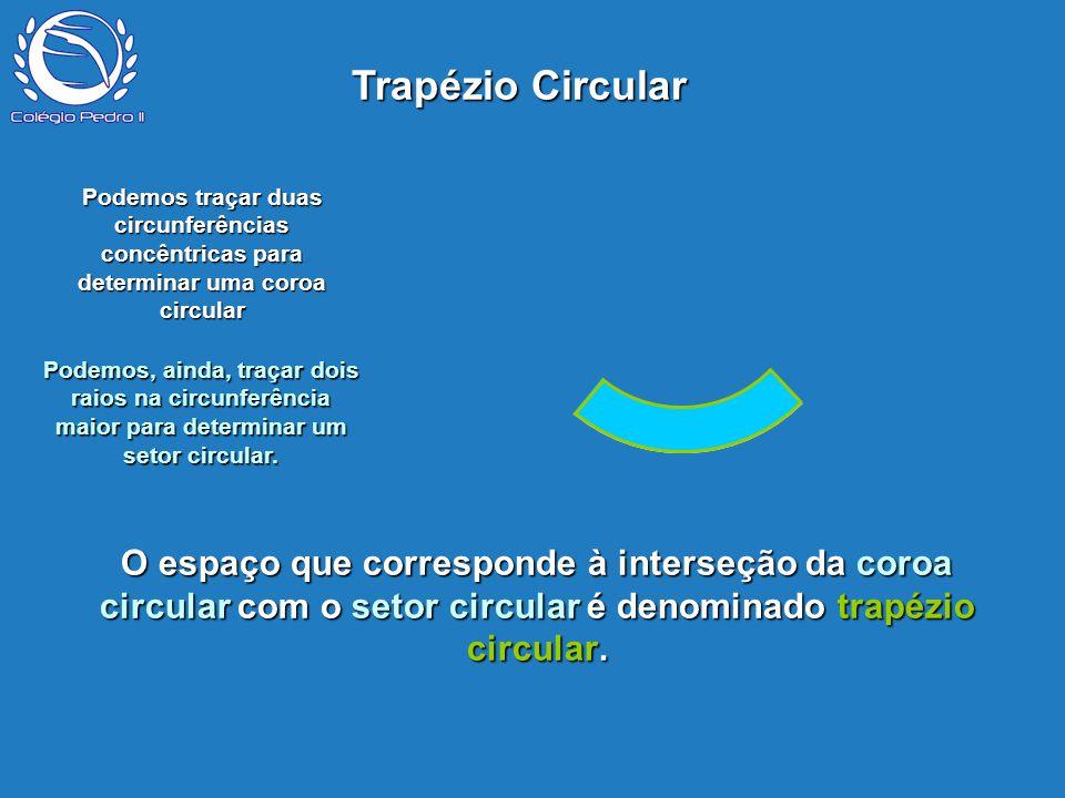 Trapézio Circular P. Podemos traçar duas circunferências concêntricas para determinar uma coroa circular.