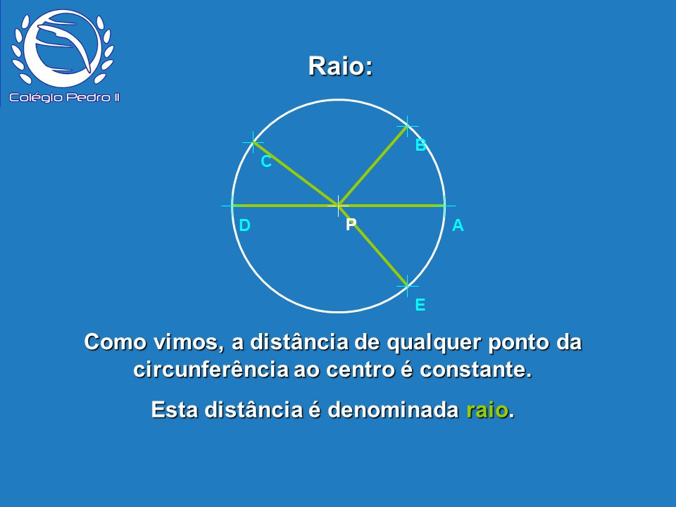 Esta distância é denominada raio.