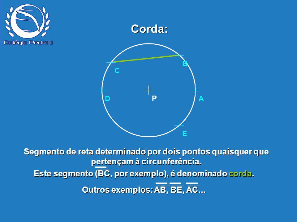 Corda: P. B. E. D. A. C. Segmento de reta determinado por dois pontos quaisquer que pertençam à circunferência.
