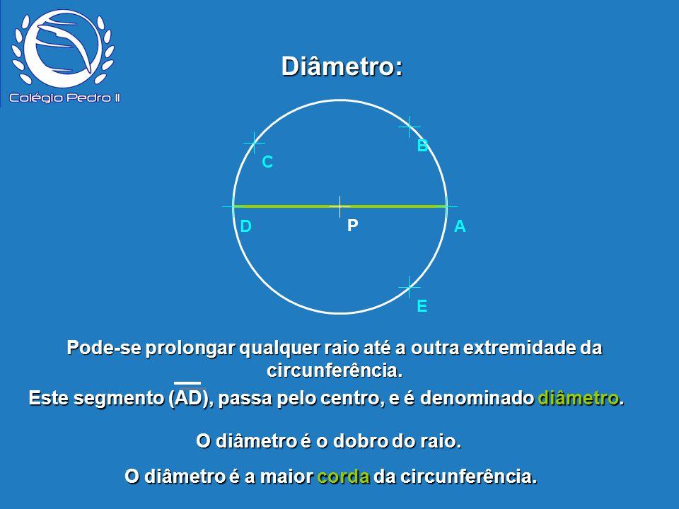 Este segmento (AD), passa pelo centro, e é denominado diâmetro.
