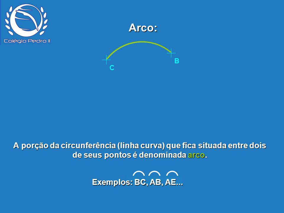 Arco: C. B. P. B. E. D. A. C. A porção da circunferência (linha curva) que fica situada entre dois de seus pontos é denominada arco.