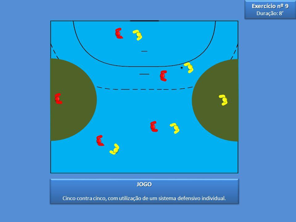 Cinco contra cinco, com utilização de um sistema defensivo individual.