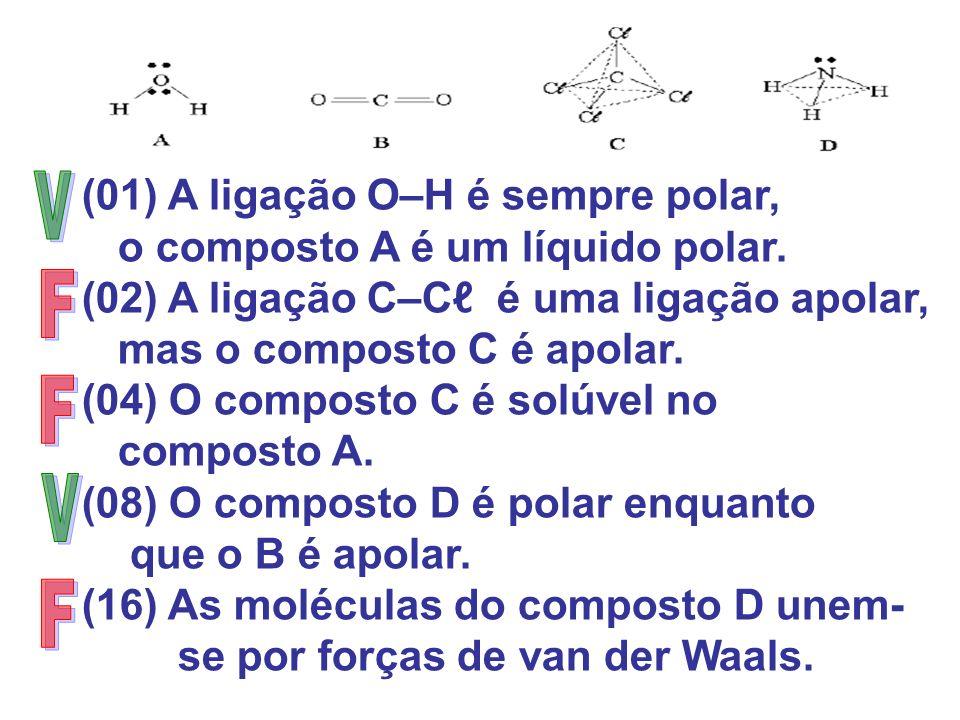 V F F V F (01) A ligação O–H é sempre polar,
