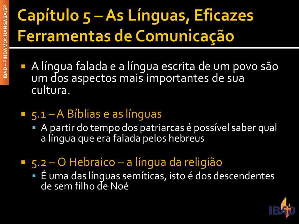 Capítulo 5 – As Línguas, Eficazes Ferramentas de Comunicação