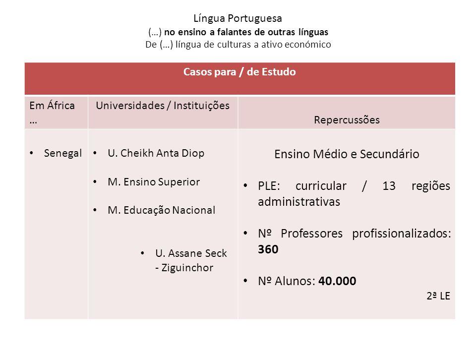 Ensino Médio e Secundário PLE: curricular / 13 regiões administrativas