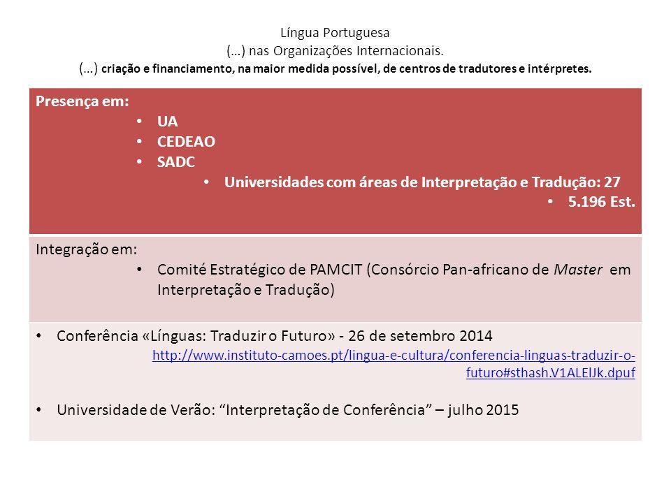 Universidades com áreas de Interpretação e Tradução: 27 5.196 Est.