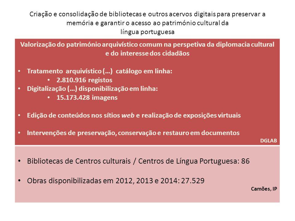 Bibliotecas de Centros culturais / Centros de Língua Portuguesa: 86