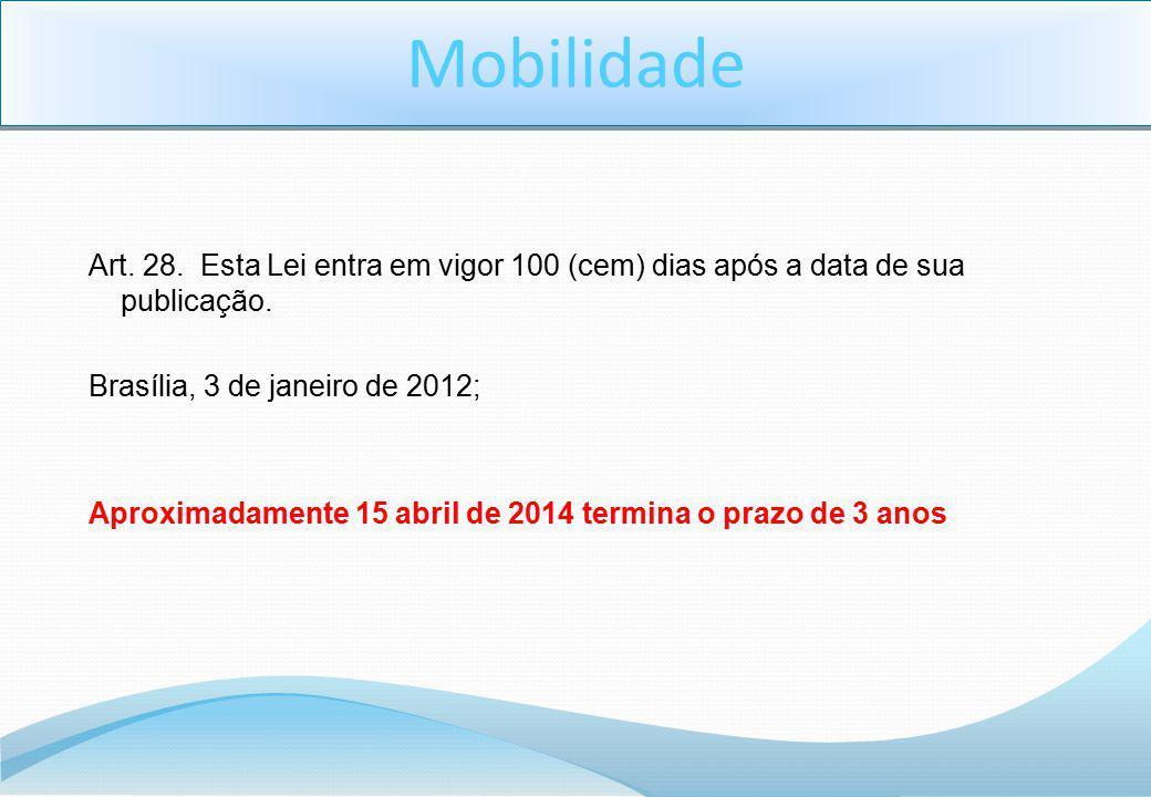 Mobilidade Art. 28. Esta Lei entra em vigor 100 (cem) dias após a data de sua publicação. Brasília, 3 de janeiro de 2012;