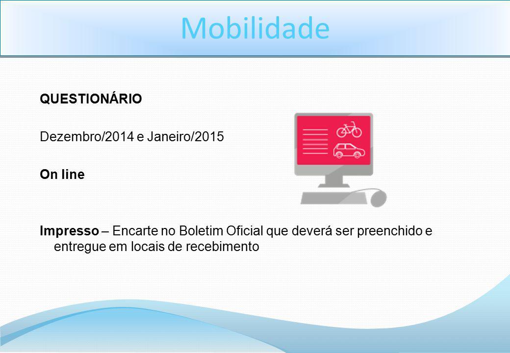 Mobilidade QUESTIONÁRIO Dezembro/2014 e Janeiro/2015 On line