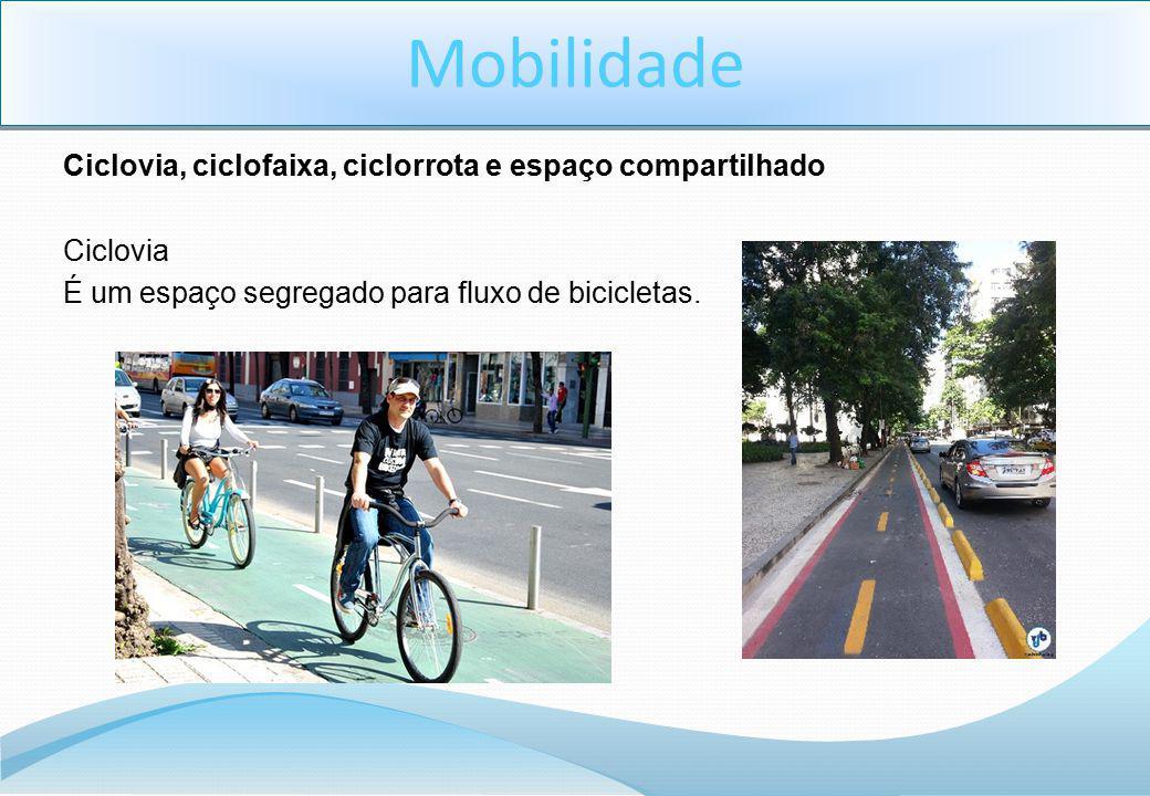 Mobilidade Ciclovia, ciclofaixa, ciclorrota e espaço compartilhado