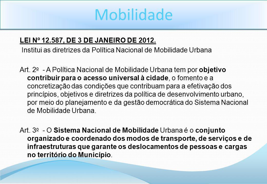 Mobilidade LEI Nº 12.587, DE 3 DE JANEIRO DE 2012.