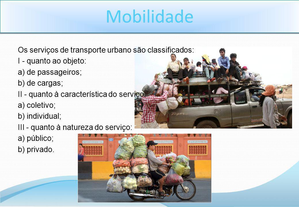 Mobilidade Os serviços de transporte urbano são classificados: