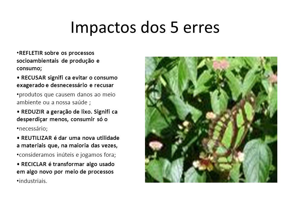 Impactos dos 5 erres REFLETIR sobre os processos socioambientais de produção e consumo;