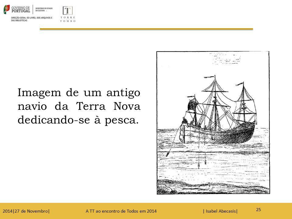 Imagem de um antigo navio da Terra Nova dedicando-se à pesca.