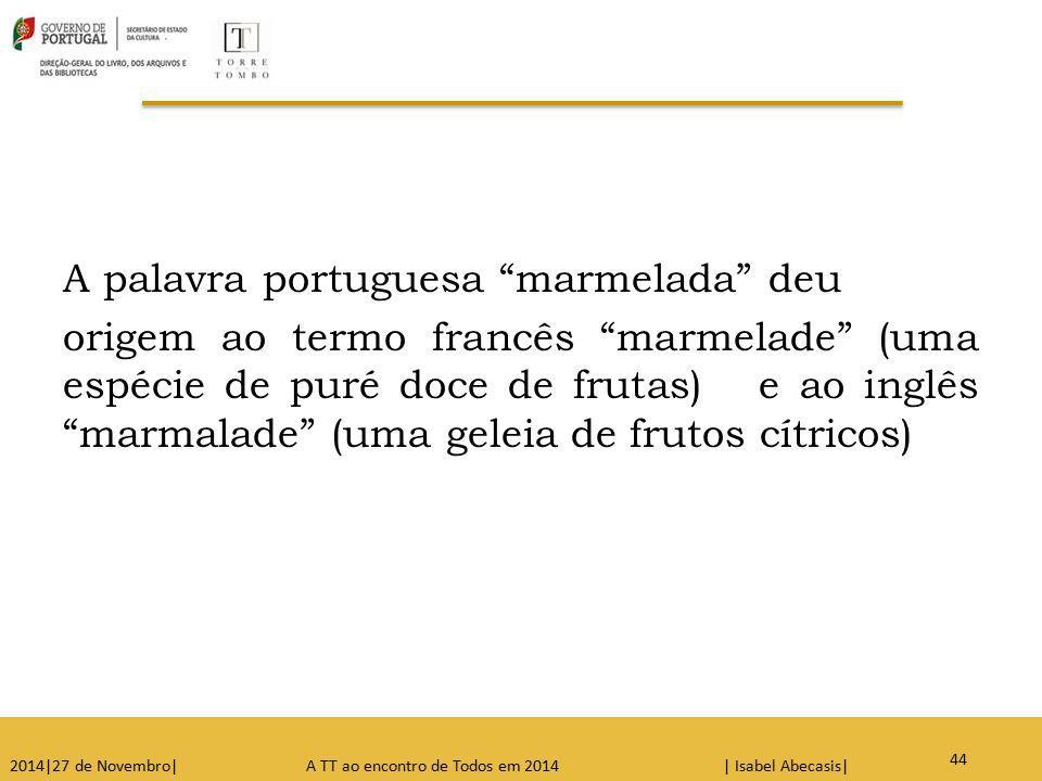 A palavra portuguesa marmelada deu