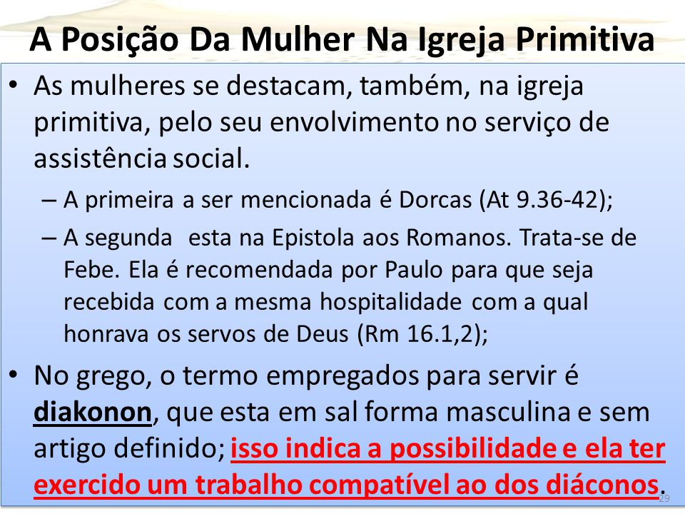 A Posição Da Mulher Na Igreja Primitiva