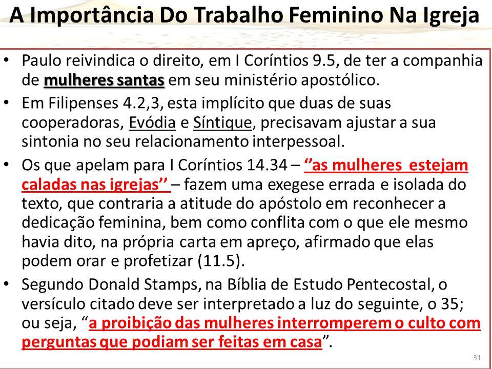 A Importância Do Trabalho Feminino Na Igreja