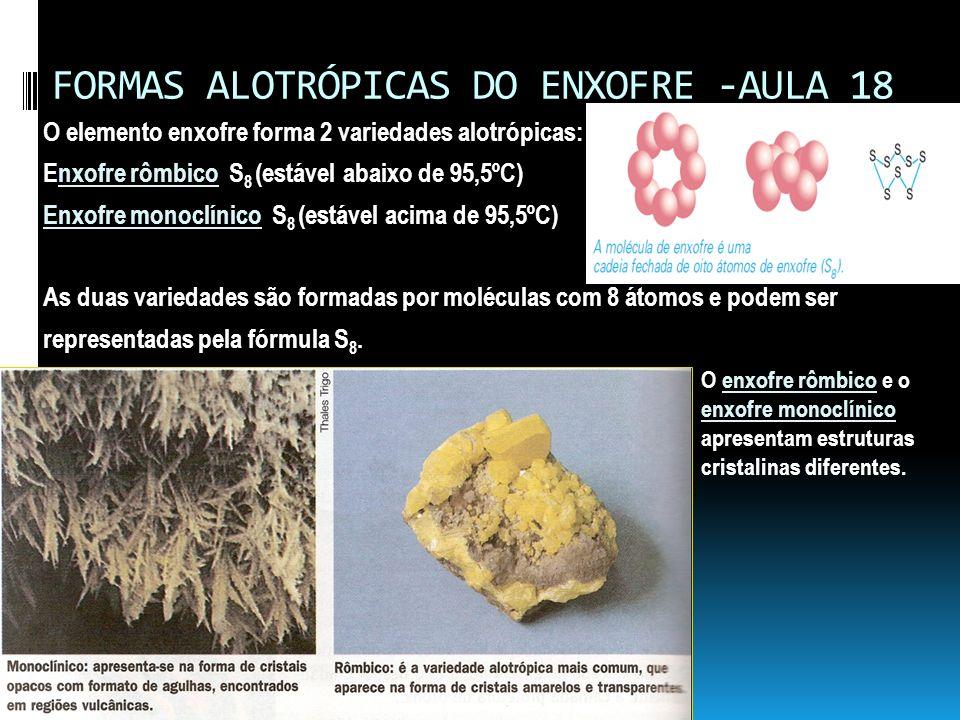 FORMAS ALOTRÓPICAS DO ENXOFRE -AULA 18