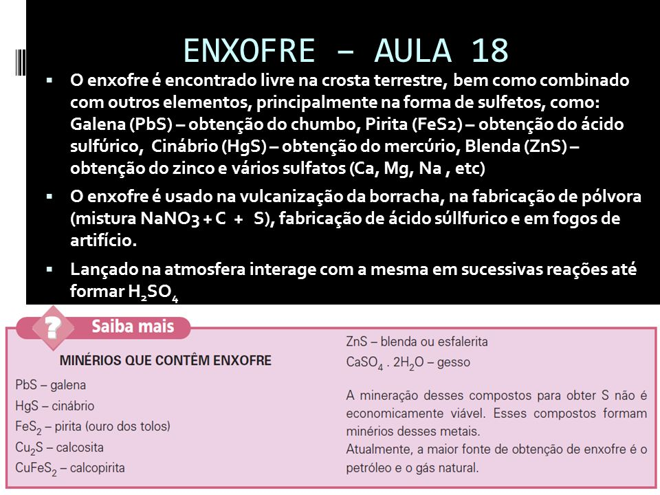 ENXOFRE – AULA 18