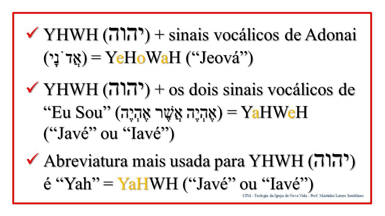 YHWH (יהוה) + sinais vocálicos de Adonai (אֲדֹנָי) = YeHoWaH ( Jeová )