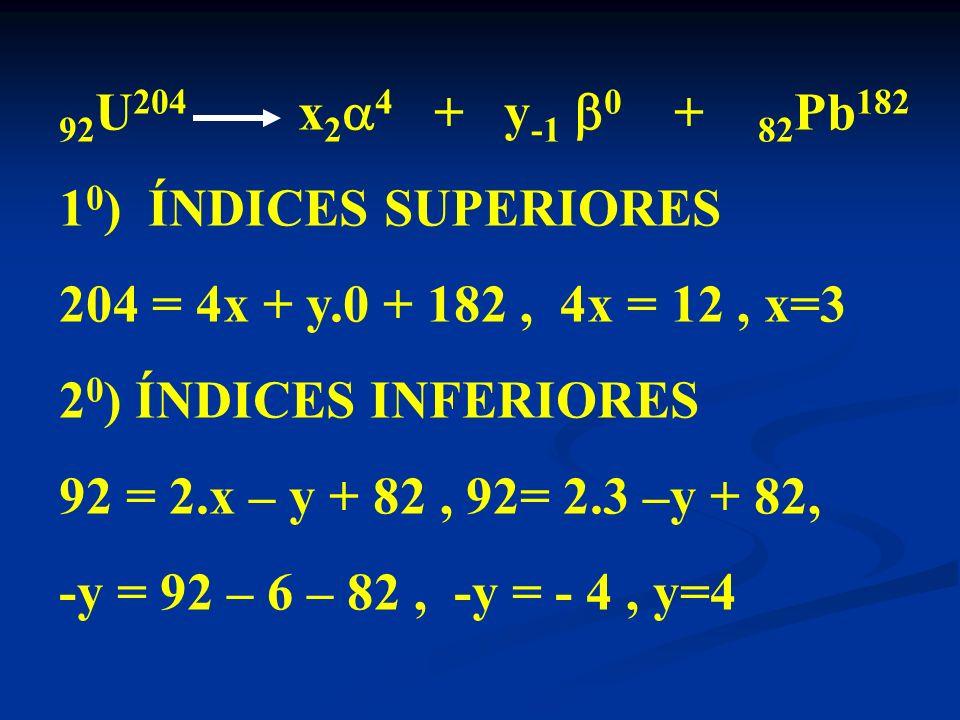 92U204 x24 + y-1 0 + 82Pb182 10) ÍNDICES SUPERIORES. 204 = 4x + y.0 + 182 , 4x = 12 , x=3.
