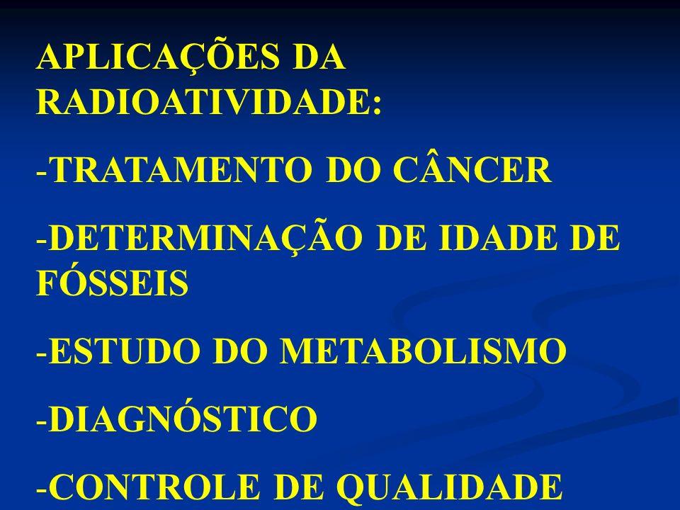 APLICAÇÕES DA RADIOATIVIDADE: