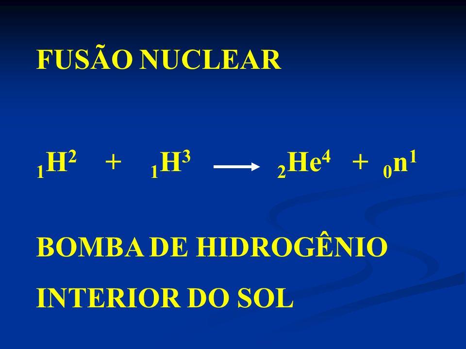 FUSÃO NUCLEAR 1H2 + 1H3 2He4 + 0n1 BOMBA DE HIDROGÊNIO INTERIOR DO SOL