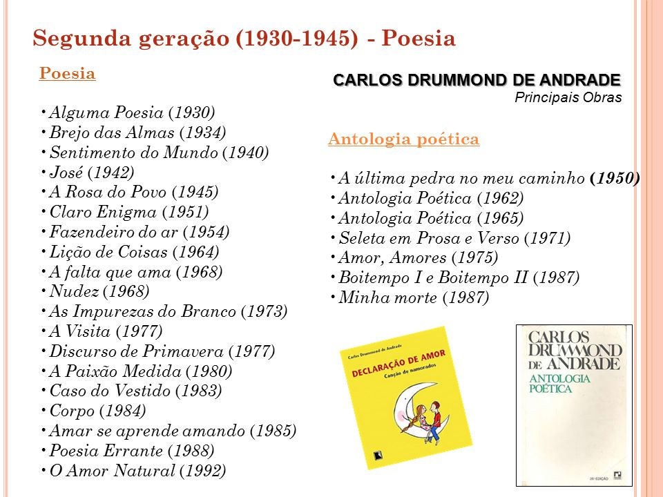 Segunda geração (1930-1945) - Poesia