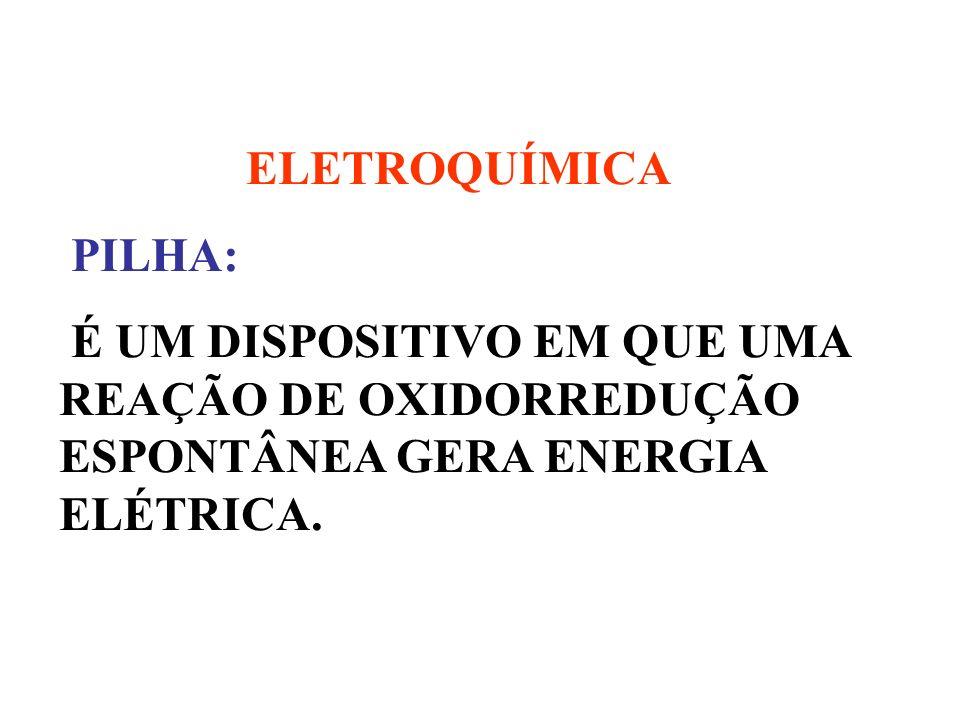 ELETROQUÍMICA PILHA: É UM DISPOSITIVO EM QUE UMA REAÇÃO DE OXIDORREDUÇÃO ESPONTÂNEA GERA ENERGIA ELÉTRICA.