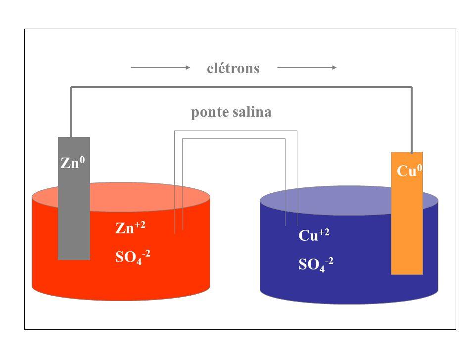 elétrons ponte salina Zn0 Cu0 Zn+2 SO4-2 Cu+2 SO4-2