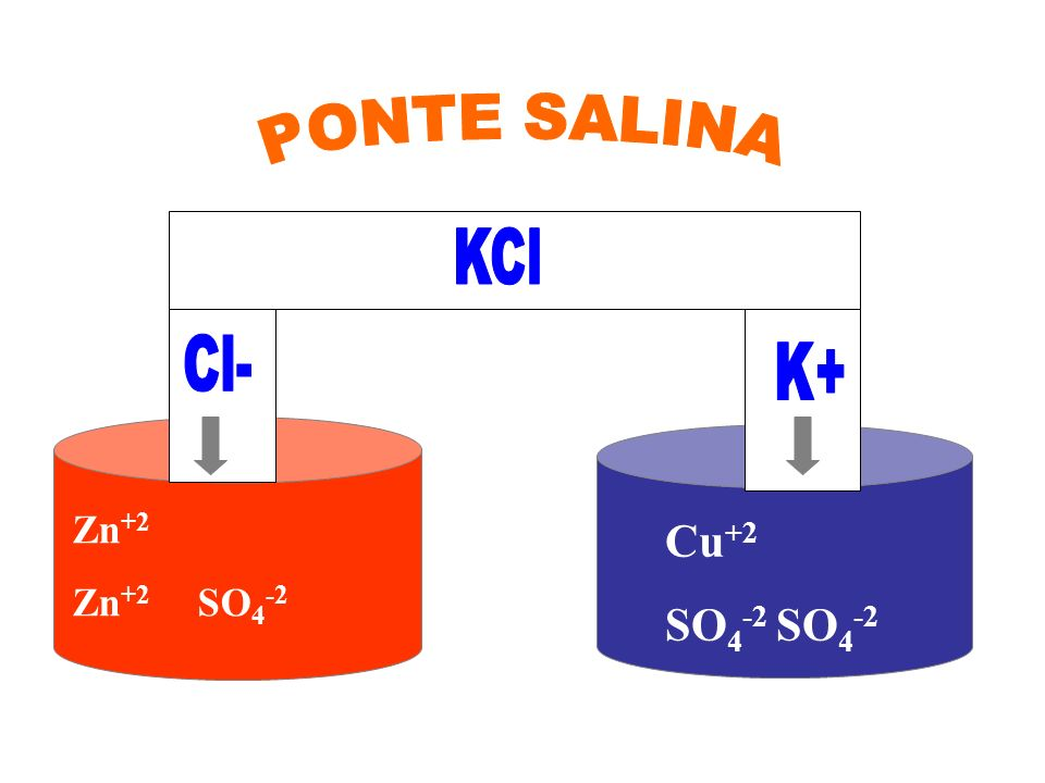 PONTE SALINA KCl KCℓ Cl- K+ Zn+2 Zn+2 SO4-2 Cu+2 SO4-2 SO4-2
