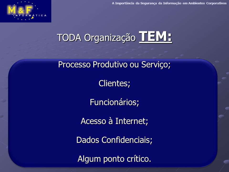 Processo Produtivo ou Serviço;