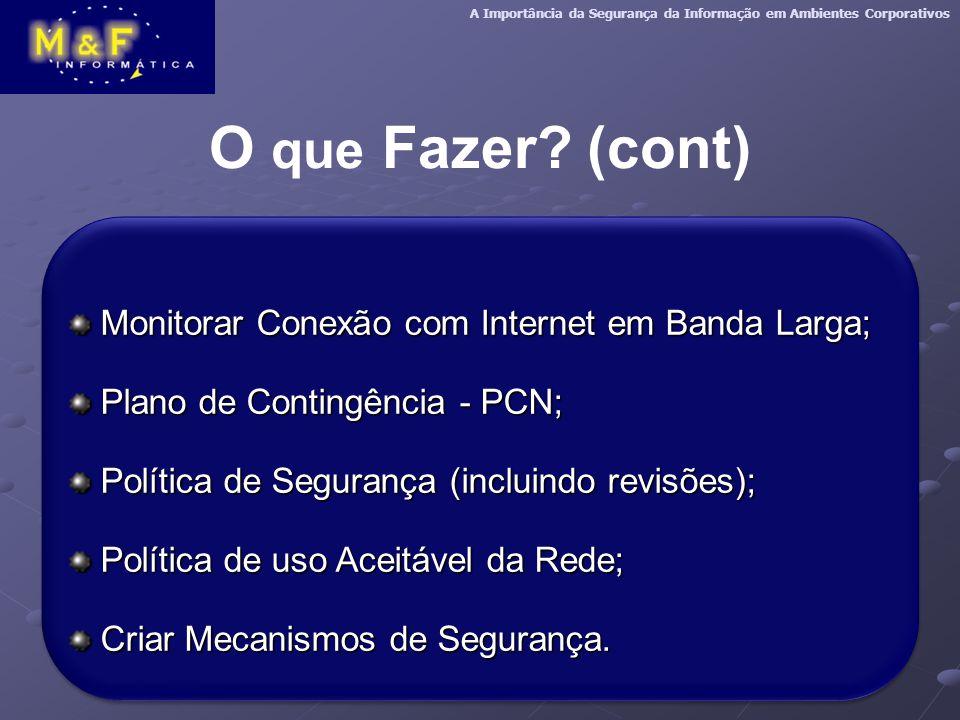O que Fazer (cont) Monitorar Conexão com Internet em Banda Larga;