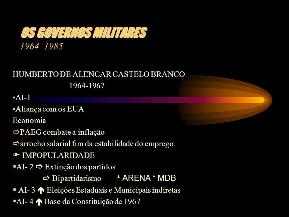 OS GOVERNOS MILITARES 1964 1985 HUMBERTO DE ALENCAR CASTELO BRANCO