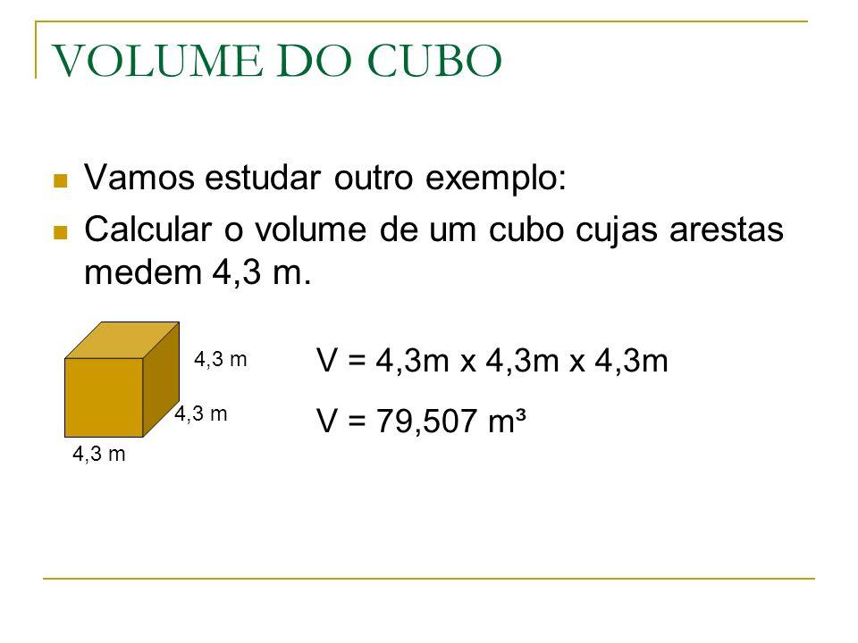 VOLUME DO CUBO Vamos estudar outro exemplo: